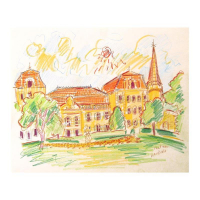 "Wayne Ensrud Signed ""Chateau Vaudieu, Chateauneuf-du-Pape (France)"" 14x17 Pencil Original Artwork at PristineAuction.com"