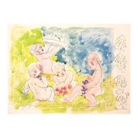 "Wayne Ensrud Signed ""Cherubs"" 12x16 Mixed Media Original Artwork at PristineAuction.com"