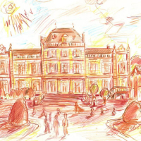 "Wayne Ensrud Signed ""Chateau Giscours (Bordeaux)"" 12x17 Pencil Original Artwork at PristineAuction.com"