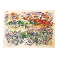 "Wayne Ensrud Signed ""Chateau Haut-Brion in Autumn"" 20x27 Watercolor Original Artwork at PristineAuction.com"
