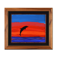 """Wyland Signed """"Free In the Sea"""" 26x23 Custom Framed Original Oil Painting on Board"""