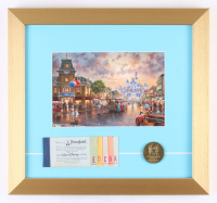 Thomas Kinkade Disneyland 13x14 Custom Framed Print with Vintage Ticket Booklet & Coin