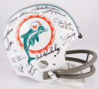 1972 Dolphins Throwback Suspension Full-Size Helmet Team-Signed by (27) with Bob Griese, Jake Scott, Dick Anderson, Mercury Morris, Al Jenkins (JSA COA)