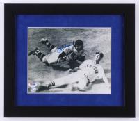 "Yogi Berra Signed Yankees ""Tagging Ted Williams"" 13x15 Custom Framed Photo Display (PSA COA)"