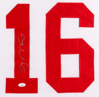 Joe Montana Signed 49ers 35x43 Custom Framed Jersey (JSA COA) at PristineAuction.com