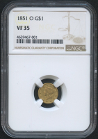 1851-O $1 One Dollar Liberty Head Gold Coin (NGC VF 35)