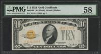 1928 $10 Ten Dollars U.S. Gold Certificate Currency Bank Note Bill (AA Block) (PMG 58)