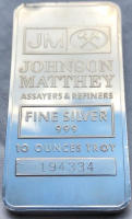 10 Troy Ounce .999 Fine Silver Bullion Bar