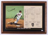 Willie Mays Signed LE Giants 18x25.5 Custom Framed Career Highlight Stat Card Display (PSA COA)