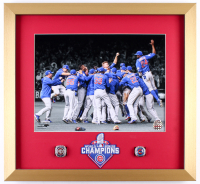 2016 World Series Champion Cubs 18x19.5 Custom Framed Photo Display with Replica Rings