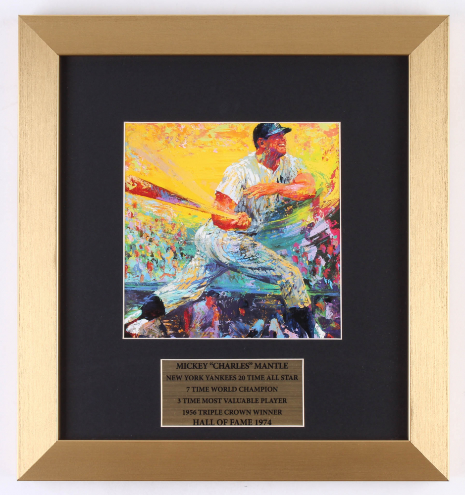 "LeRoy Neiman ""Mickey Mantle"" 12.5x13.5 Custom Framed Print Display at PristineAuction.com"