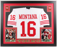 Joe Montana Signed 49ers 35x43 Custom Framed Jersey (JSA Hologram)