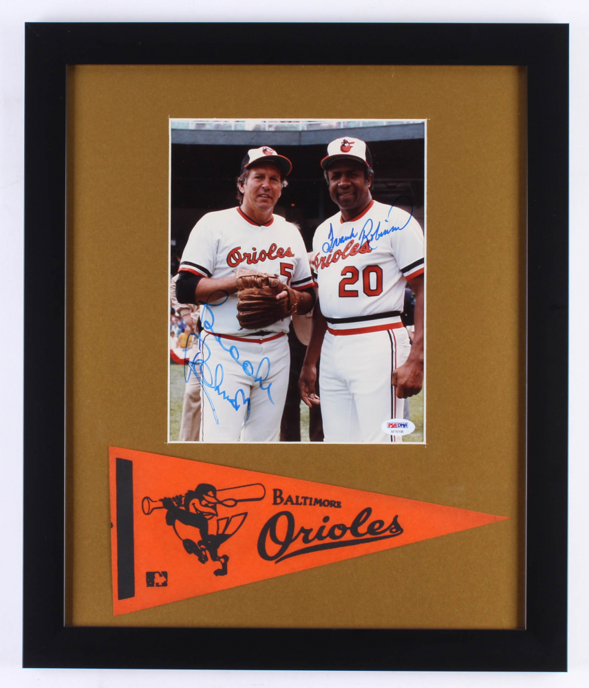 3ccc3d6e8 Brooks Robinson   Frank Robinson Signed Orioles 16x19 Custom Framed Photo Display  with Vintage Patch (