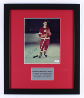 Gordie Howe Signed Red Wings 16x19 Custom Framed Photo Display (PSA COA)
