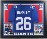Saquon Barkley Signed New York Giants 35x43 Custom Framed Jersey (Beckett COA) at PristineAuction.com