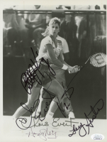 """Battle of the Sexes"" 8x10 Photo Signed by (5) with Billie Jean King, Martina Navratilova, Chris Evert, Andy Mill & Tracy Austin with Event Ticket (JSA COA)"