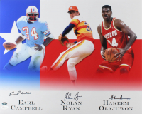 Hakeem Olajuwon, Nolan Ryan & Earl Campbell Signed 16x20 Photo (JSA Hologram & Ryan Hologram)