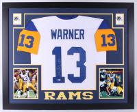 Kurt Warner Signed St. Louis Rams 35x43 Custom Framed Jersey (Beckett Hologram & Warner Hologram)