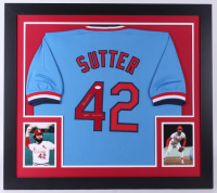 "Bruce Sutter Signed Cardinals 31x35 Custom Framed Jersey Inscribed ""HOF 06"" & ""300 Saves"" (JSA Hologram)"
