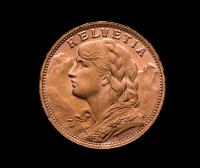 1935-B Swiss Helvetia 20 Francs Gold Coin