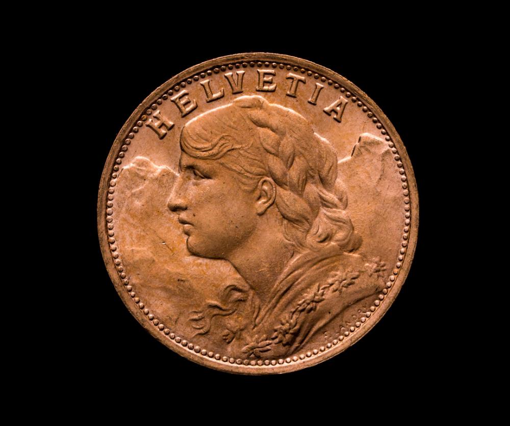 helvetia 20 franc gold coin 1935