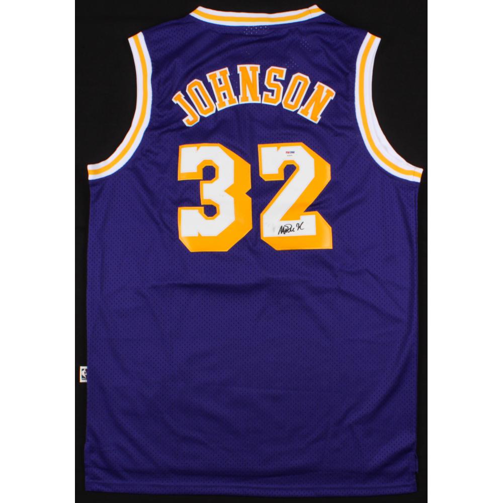 137117e6e6c5 Magic Johnson Signed Lakers Jersey (PSA COA) (Imperfect)