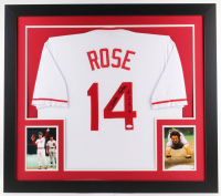 "Pete Rose Signed Reds 31x35 Custom Framed Jersey Inscribed ""4256"" (JSA COA)"