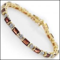 12.29 CT Garnet & Diamond Designer Bracelet