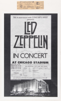 Lot of (2) Led Zeppelin Concert Items with (1) Concert Ticket & (1) 11x17 Concert Poster Print (Chicago Stadium Corporation LOA) (Imperfect)