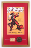 """Disney's """"Pirates of the Caribbean"""" New Orleans Square 17x27 Custom Framed Print Display with Vintage Disneyland Ticket & Commemorative Medal"""