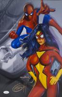 "Greg Horn Signed ""Spider-Man & Spider-Woman"" 11x17 Lithograph (JSA COA)"