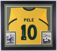 Pele Signed Brazil 31x35 Custom Framed Jersey (PSA COA)