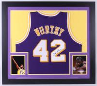 James Worthy Signed Lakers 31x35 Custom Framed Jersey (JSA COA)