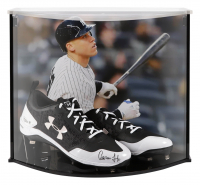 Aaron Judge Signed Under Armor Cleats with Custom Acrylic Curve Display Case (Fanatics Hologram) at PristineAuction.com