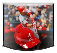 "Mike Trout Signed LE Angels Authentic Full-Size Batting Helmet Inscribed ""'14/'16 MVP"" with Custom Acrylic Curve Display Case (Fanatics Hologram)"