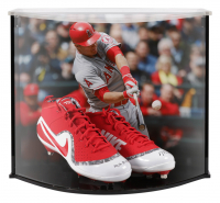 "Mike Trout Signed LE Nike Force Zoom Trout 4 Cleats Inscribed ""'14, '16 AL MVP"" with Custom Acrylic Curve Display Case (Steiner COA) at PristineAuction.com"