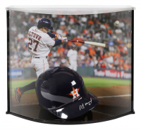 Jose Altuve Signed Astros Full-Size Batting Helmet With Custom Acrylic Curve Display Case (Fanatics Hologram) at PristineAuction.com