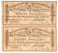 Uncut Set of (2) 1864 $30 Thirty Dollars Confederate States of America Richmond CSA Bank Note Bond