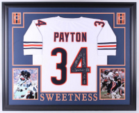 "Walter Payton Signed Chicago Bears 35x43 Custom Framed Jersey Inscribed ""Sweetness"", ""75-87"", ""Super Bowl XX"" & ""16,726"" (Payton COA)"