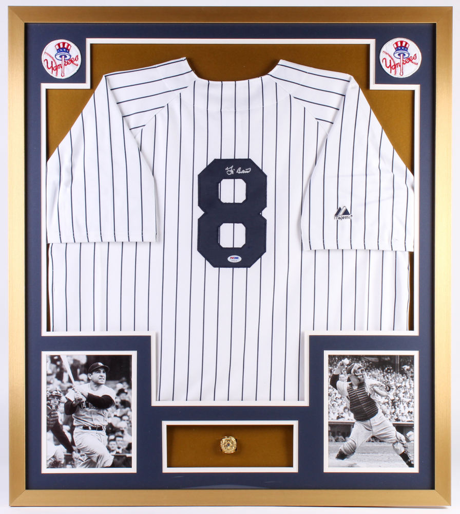 7a5c5c203f4 Yogi Berra Signed Yankees 32x36 Custom Framed Jersey with Championship Ring  (PSA Hologram) at