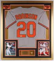 "Frank Robinson Signed Orioles 32x36 Custom Framed Jersey Inscribed ""Only AL NL MVP"" (PSA COA)"