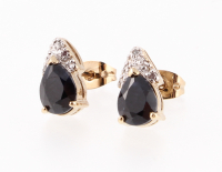 3.84 CT Black Sapphire & Diamond Elegant Earrings