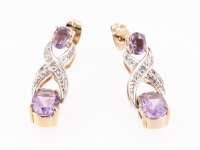 5.18 CT Amethyst & Diamond Elegant Earrings