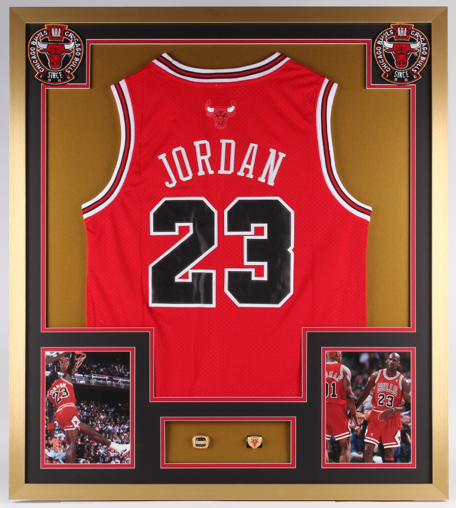 53a64f8fd Michael Jordan Bulls 32x36 Custom Framed Jersey Display with (2) Replica  Championship Rings