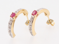 2.29 CT Ruby & Diamond Elegant Earrings