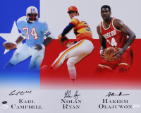Hakeem Olajuwon, Nolan Ryan & Earl Campbell Signed 16x20 Photo (JSA COA & Ryan Hologram)