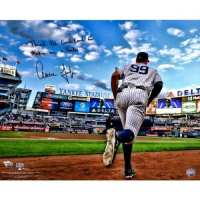 """Aaron Judge Signed Yankees """"Running out of the Dugout"""" 16x20 Photo Inscribed """"Thank the Good Lord for Making Me a Yankee"""" (Fanatics Hologram & MLB Hologram) at PristineAuction.com"""