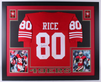 Jerry Rice Signed San Francisco 49ers 35x43 Custom Framed Jersey (Beckett COA)