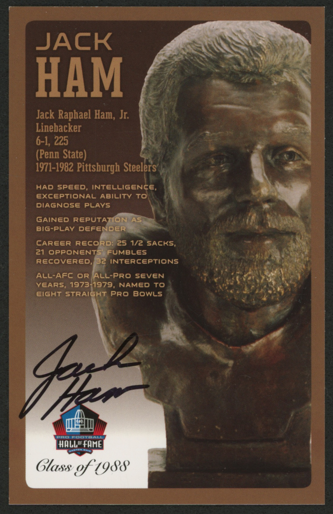 ac1dcb7e6cb Jack Ham Signed LE Bronze Bust Football Hall of Fame Postcard (Pro Football  Hall of Fame COA)