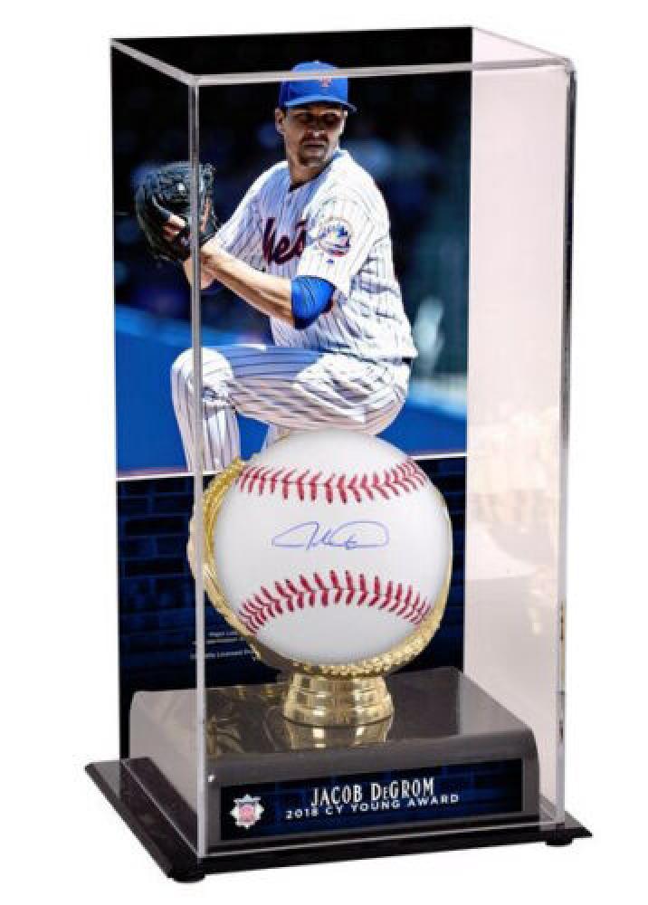 671c6b038b3 Jacob deGrom Signed OML Baseball With CY Young Display Case (Fanatics  Hologram   MLB Hologram)